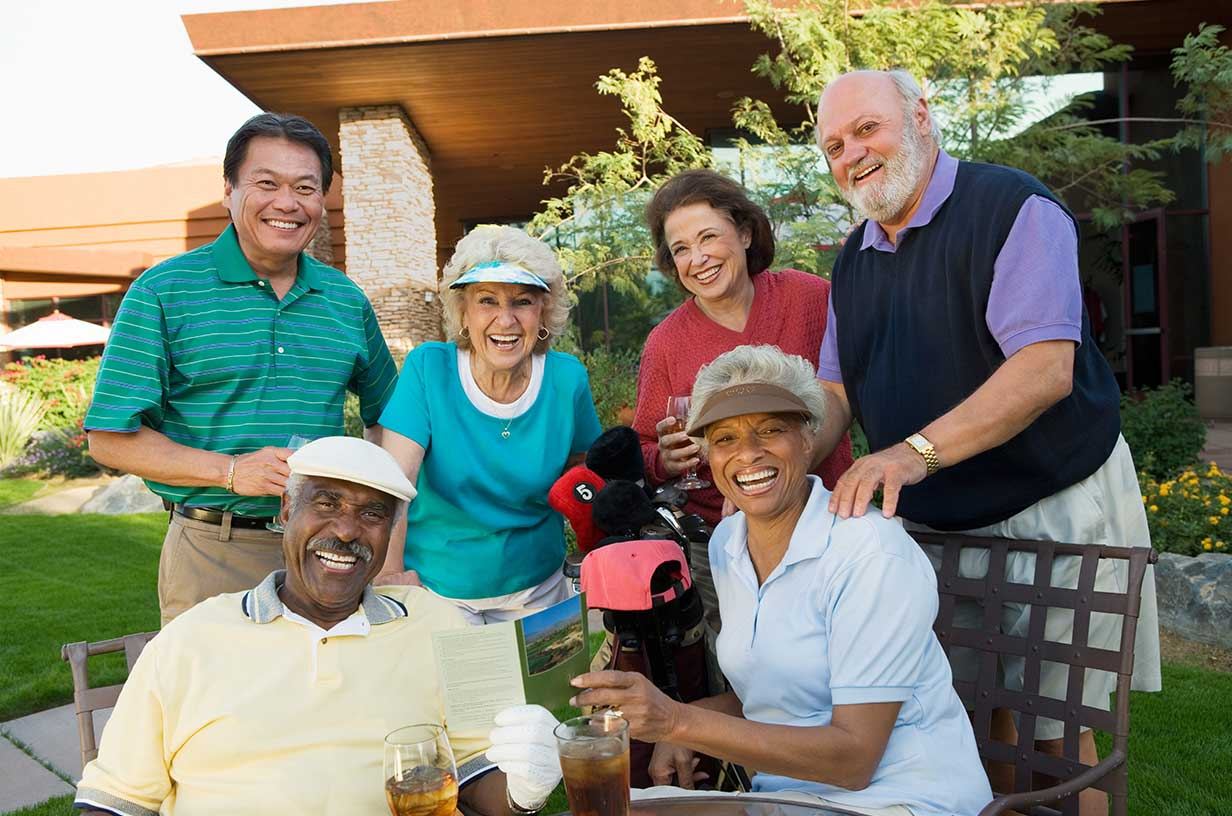 older adults at a golf course